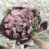 bó hoa sinh nhật hồng tím và baby trắng
