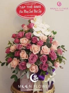 giỏ hoa chúc mừng sinh nhật hồng tím hồng kem