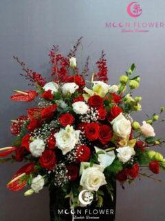 giỏ hoa mừng sinh nhật tông đỏ