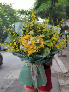 Bó hoa lan vũ nữ vàng hoa các loại