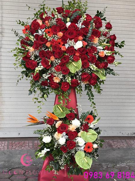 Lẵng hoa chúc mừng khai trương hoa hồng đỏ
