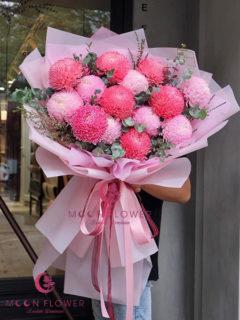 Bó hoa cúc mẫu đơn nhập 15 bông - Sức sống căng tràn