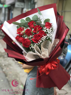 Bó hoa chúc mừng ngày 20/10 hồng đỏ - Lãng Mạn