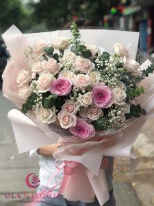 Bó hoa hồng kem - Xinh Xắn