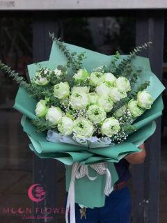 Bó hoa hồng sen trắng tại Hà Nội - Thuần Khiết