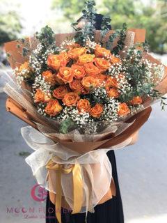 Bó hoa sinh nhật màu cam - Kiểu Cách