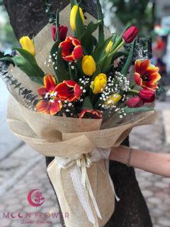 Bó hoa tuylip 2 màu - Lời chúc ngọt ngào